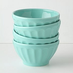 "Anthropologie - Latte Bowls - Set of fourPorcelainDishwasher and microwave safe18 oz3""H, 5.5"" diameterPortugal"