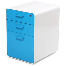 Modern Filing Cabinets West 18th File Cabinet, White/Pool Blue