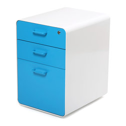 "Poppin - West 18th File Cabinet, White/Pool Blue - Add this one to the style file. Smooth, sexy powder-coated steel comes in pure white and several eye-popping colors and the sleek white even continues inside. It features two utility drawers with dividers and one hanging file drawer, all of which lock to keep your private files private — or your afternoon ""crash"" candy out of reach."