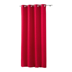 Evideco - Striped Jacquard Crash Grommet Curtain Panels Lineo Red - This attractive striped jacquard crash LINEO window curtain panel features vertical creased design and helps keeping privacy, is room darkening and can be hung by itself or under additional panels for a layered effect. This solid red-colored striped windo