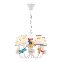 Lite Source - Lite Source Aeroplani Modern / Contemporary Chandelier X-2001-KI - This charming chandelier is perfect for your children's sleeping area or play room. The colorful airplane patterns in the white fabric shades with assorted air vehicles as accents create a fun and whimsical atmosphere suitable for the young at heart. The white finish for the traditional frame provides a calming appeal to the Aeroplani Contemporary chandelier by Lite Source.