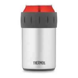 Thermos - Thermos Vacuum Insulated Beverage Can Insulator - Keep your icy cold canned beverage cold up to 10 times longer with this inventive can cooler featuring TherMax double wall vacuum insulation.