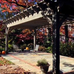 Over Sized Timber Frame Pergola Arbor Gazebo Kits - Oversized pergola kit installed over patio.