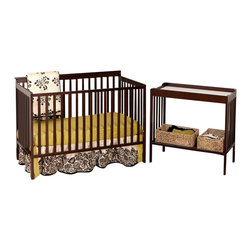 Stork Craft - Stork Craft Milan 2-in 1 Crib and Changer Combo in Espresso - Stork Craft - Baby Crib Sets - 04521009 - With its rich finish and clean lines the Milan 2 in 1 Fixed Side Convertible Crib by Stork Craft will be the ideal harmonizing piece to your babys nursery collection. Included in the bundle is the Milan Changer with plenty of storage for larger items such as diapers wipes and extra clothes. Designed with safety in mind the table has an extra deep surface for added security and stability while changing your baby. As your baby grows you can convert the Milan Crib into a full size bed and use the changer as a shelf to store big kid clothes or toys._� The Milan will last you a lifetime with its well built construction made of solid wood and wood products offered in a variety of durable finishes; it is truly a unique piece. Complete your nursery look by adding a Stork Craft chest dresser armoire or glider and ottoman.