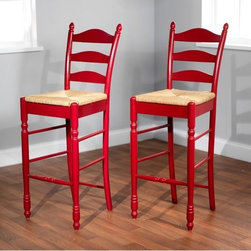 "TMS - 30"" Ladder Back Stool in Red (Set of 2) - Traditional design, expert craftsmanship and sturdy construction is what you will enjoy with your set of this ladderback stool. Constructed of rubberwood finished in red with woven rush seat. Stool also features turned legs and the classic triple slat ladder back. Requires some assembly. Features: -Set of two ladder back stools. -Red finish. -Rubberwood construction. -Woven rush seat. -Assembly required. -Seat height: 30 inches. -Dimensions: 46"" Height x 18.75"" Width x 17"" Depth."