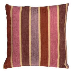 Pillow Decor Ltd. - Pillow Decor - Savannah Stripes 20 x 20 Pink Purple Chenille Throw Pillow - This square pillow features soft chenille stripes woven into a sturdy upholstery grade fabric backing. A sure way to add warmth and charm to your home.