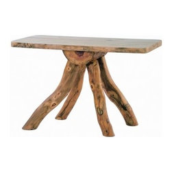 Mountain Woods Furniture - Log Funky Leg Bug Table - This  funky-legged  unique  accent  piece  is  great  for  an  entryway,  as  a  side  table  or  a  sofa  table.  A  unique  log  table  with  legs  made  from  snowload  aspen  logs.  No  two  are  exactly  alike!                  Dimensions:  48w  x  21d  x  36h              Natural  aspen  logs              Made  in  USA              Curbside  delivery              Allow  4-6  weeks  for  shipping