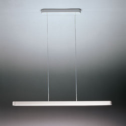 Artemide - Talo Suspension Light | Artemide - Design by Neil Poulton, 2001.By Artemide.The Talo Suspension Light is a cable suspended luminary for direct and indirect fluorescent lighting. Composed of a painted aluminum body with an opal polycarbonate lower diffuser and a thermoplastic resin canopy. Available in mono or double tube, on the same line, in different lengths according to the power of the light source. The suspension cables are also the feed cables. Available in white or silver/grey finishes. Supplied with a 120V electronic fluorescent ballast. The Talo Suspension Light cannot accommodate a dimming ballast.Reddot Design Award 2002 - Essen (Deutschland).