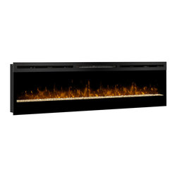 Muskoka - Dimplex Galveston 74-in Linear Electric Fireplace - BLF74 - The Galveston offers a sleek, modern design in a 74-inch Electric Fireplace. The BLF74 features patented Dimplex LED flame technology, a crushed glass ember bed, and on/off remote control. This Linear Electric Fireplace can be wall mounted or fully recessed for a seamless look.