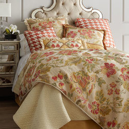 "Dian Austin Villa - Dian Austin Villa King Floral Duvet Cover, 108"" x 95"" - Exclusively ours. With patterns from vibrant floral jacquard to oversized houndstooth checks, this bed linens collection captures the sunny spirit of South Beach. From Dian Austin Villa. Dry clean. Floral linens and golden dust skirts are handcrafted..."