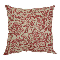 Decorative Red and Tan Damask 16.5-Inch Square Toss Pillow