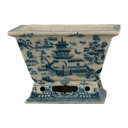 Oriental Danny - Porcelain rectangular planter in blue willow - Hand made rectangular planter with blue willow scene. Ideal for flower arrangement.