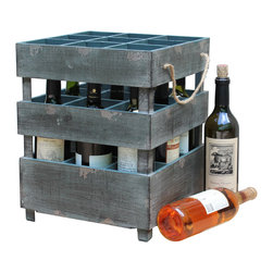 Quickway Imports - Antique Style Stackable Wooden Wine Crates - Our Rustic Wood Wine Crate lets you store or display your favorite wines while adding interest to your bar area. The sturdy wood construction and weathered look adds an old world charm that is sure to grab the attention of friends and guests. Antique wood finish. Holds up to nine (9) wine or liquor bottles. Crates are designed to be stacked one of another, so you can stack as much as you want.