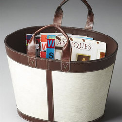Butler - Modern Expressions 18.5 in. Magazine Basket - Chestnut leather handles. Made from leather. Made in India. 18.5 in. L x 14.5 in. W x 12.5 in. H (24 lbs.)Modern Expressions is a fresh take on classic design. This stunning array of time-honored designs collectively evoke a sense of familiarity, though, individually, each have a look all their own. This beautiful magazine basket is versatile in addition to good-looking. Delightfully simple, yet uniquely elegant, this spacious magazine basket features a hair on hide exterior paired beautifully with rich chestnut leather handles, trim and within its interior.