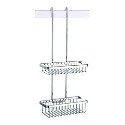 Geesa - Over-the-Door Double Shower Basket - Modern, suspensible square wire double tier shower basket.
