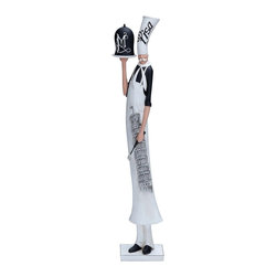 Woodland Import - Resin French Chef Statue - 24H in. Multicolor - 44706 - Shop for Sculptures Statues and Figurines from Hayneedle.com! The Resin French Chef Statue - 24H in. serves up some very appetizing style for your kitchen or dining room. Made of high-quality resin this super-skinny fellow holds a spatula and carries a serving tray. And you ll love his uniform which includes a tall hat printed with Pisa a scarf contrasting black shirt and apron. Plus the apron is printed with a Leaning Tower of Pisa design. A suction cup base adds extra stability.