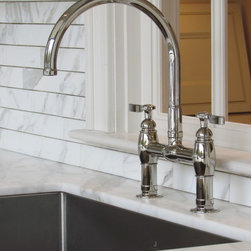 Kohler Bridge Faucet - Kohler Bridge Faucet Installed in a Calacatta Marble Countertop