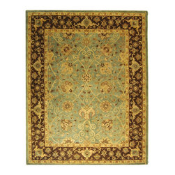"Safavieh - Antiquities Green/Brown Area Rug AT21H - 2'3"" x 4' - The elegant designs and rich colors of these rugs are inspired from 19th century antique Persian rugs. A special herbal wash gives these rugs their luster and an aged patina. This collection is hand tufted in India of 100% hand-spun premium wool."