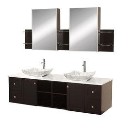 """Wyndham - Avara 72"""" Wall-Mounted Double Bathroom Vanity Set - Espresso - Make a statement with the Avara double vanity, and add a twist of the transitional to an otherwise modern classic.; The Avara is the perfect centerpiece to any master bathroom suite, featuring Blum soft close hinges and Blum soft close drawer guides. You'll never hear a door or drawer slam shut again!; Espresso Finish; Counter: White Stone; Includes white carrera marble sink; Includes drain assemblies and P-traps for easy assembly; Includes medicine cabinet mirrors and side shelves; Faucets not included; Dimensions: Vanity 72 x 22-1/4 x 24.5 (including sink); Side Shelves 8-3/4 x 5 x 12; Medic Cab Mirrors 21 x 5-3/4 x 30"""