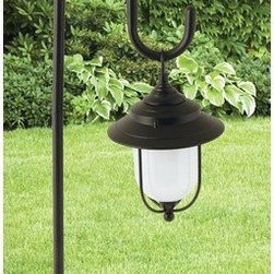 "Coleman Cable Inc. - 10W Lv Metal Path Light Black - Diecast aluminum fixture with black finish and frosted glass lens. Mix-N-Match with other low voltage lights for a custom landscape design. 26"" above ground height. Sheppard's hook and 10 watt bulb included.            Finish=Black"