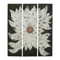 UMA - Petals of White Metal Wall Art Set of 3 - A huge layered blossom of white explodes across three panels in this modern floral artwork