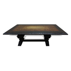 Manchester Tuscan Table, Fresco Brown Crackle and Mahogany with Scrolls - Manchester Tuscan Table, Fresco Brown Crackle and Mahogany with Scrolls