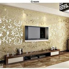 Modern Victorian Flocking Velvet Textured Wallpaper Silver Gold Wall Paper Roll