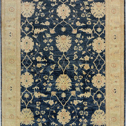 """ALRUG - Handmade Slate/Blue Oriental Oushak Rug 6' 2"""" x 8' 10"""" (ft) - This Afghan Oushak design rug is hand-knotted with Wool on Cotton."""