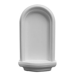 """Ekena Millwork - 11 3/8""""W x 20""""H x 3 1/4""""D Maria Wall Niche, Surface Mount - Wall niches are a unique way to add a focal point to a plain wall.  Each of our niches come with a decorative shelf space to display photos, art pieces, or anything else you want to show off.  Whether you are ordering a surface mount niche or a recessed niche, they are installer friendly, fully primed, and ready for your paint or faux finish."""