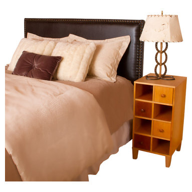 Great Deal Furniture - Alonzo Brown Leather Headboard - The Alonzo Headboard is a great piece to add elegance to your bedroom. With its studded accents, contemporary style and adjustable legs, you can spruce up the look of any queen or full metal frame bed with this headboard.