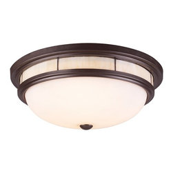 Modern Flushmount Light with White Glass in Oiled Bronze Finish -