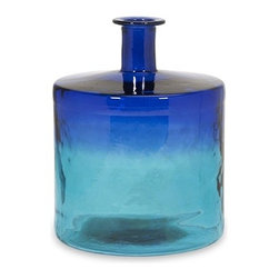 """IMAX - Luzon Short Oversized Recycled Glass Vase - As rich as the fragrant spice markets of India and as d p as natural cotton dyes, the short Luzon glass vase unites cultural influences to create an indulgence ofeethe senses in blue ombre tones. Made from recycled glass. Item Dimensions: (17.5""""h x 13.75""""w x 13.75"""")"""