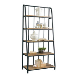 Sherrill Occasional - Sherrill Occasional Bookcase/ Etagere 365-410 - This handsome stylized etagere built of aged iron with graduated weathered oak shelves would be great alone or in multiples. Its unique side profile adds to its charm.