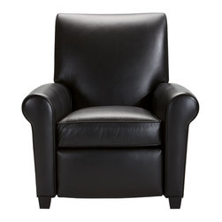 Ethan Allen - Bentley Leather Recliner, Venuto/Black - First-class seating. Bentley recliner is well-proportioned, simple, and comfortable. Its smooth rolled arms stand out in vivid contrast to the straight lines of its back. The effect is dynamic and smart.