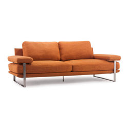 ZUO - Jonkoping Sofa - Sunkist Orange - Plump cushions and wide arms invite you to settle in with a bowl of popcorn and some brand of flickering light entertainment. The Jonkoping Sofa is plush comfort nestled on a brushed stainless steel frame. Comes in lime, sunkist orange, or wheat.