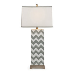 iMax - Chandler Grey Chevron Lamp - In a grey chevron pattern, this ceramic table lamp is a great lighting accessory to add modern style to any home.