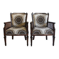 Medallion Pattern Chairs - Soul and Love Designs.  Pair of caned chairs refinished in a dark walnut stain and recovered in a Robert Allen cotton/linen medallion-print fabric
