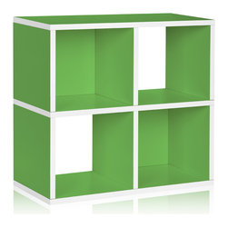 Way Basics - Way Basics Stackable Cubby Bookcase, Green - The smartest storage — cubed! Super simple to assemble (no tools, no hardware; just peel and press) and designed as a single unit, it boasts two boxes with backs and two that are open to accommodate all manner of matter. Formaldehyde- and VOC-free, so it's safe for people, the planet, everything but clutter!