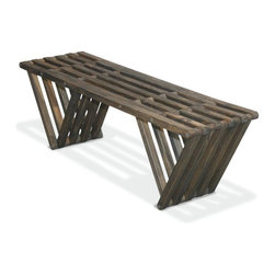 GloDea - Bench X60, Wild Black - The Bench X60 is modern, stylish, durable, eco friendly and 100% made in the USA! This nifty bench arrives partially assembled at your home needing only a final touch to be ready for use (Less than 10 min!). Thoughtfully conceptualized by the Brazilian designer Ignacio Santos and the Colombian designer Fabi'n Ramos, the Bench X60 is crafted from Eco Friendly Premium Yellow Pine wood from Alabama, stainless Steel Nut and built to last for years if well taken care of. This versatile backless bench is perfect to be used at the entrance of your home, in your bedroom or in your closet. It's inventive design, and triangular legs give it a great stability allowing it to be used anywhere. Great as gift or as a backyard bench this trendy piece is a must have! This heavy duty yet elegant bench is made from real solid wood so there are a few natural knots on it that give it a great rustic charm! The Bench X60 is the perfect fit for your front porch and will surely get you many compliments! The longer you own it the more you will love it! Our Bench X60 is finished with a semi-transparent stain and sealant mixture that protect it not only against humidity but also from UV rays and direct sun exposure. This stain finish allows you to see the natural wood through the color and is ideal for those who want to leave their furniture outside all year long without worrying about what may happen. All our products are packaged in recyclable double walled boxes with reinforced corners to ensure a safe transportation. We don't use any kind of extra packaging to avoid waste and the use of non-recyclable products. If you love design, care about the environment, and like trendy products, look no further, GloDea's Bench X60 is perfect for you!