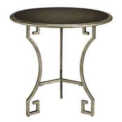 Greek Key Tables - I like this metal side table for a screened-in porch. Its details are simple, so it can be paired with other styles.