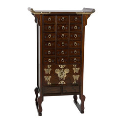 Oriental Furniture - Korean Style 18 Drawer Herbal Medicine Chest - Exceptional quality hand crafted oriental style apothecary cabinet with 18 small drawers originally used for storing Chinese herbal medicine and acupuncture. A distinctive Asian decorative accent in authentic Korean / Japanese antique design, compliments both traditional and contemporary American interiors.