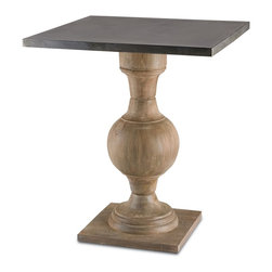 "Currey and Company - Pinkney Table - With both traditional and industrial elements, this large occasional table has a wooden turned pedestal base with a square metal wrapped top. The base has a baluster feel accented with white patina. Crafted from wood, slight variations in tone and texture are common. All surfaces are protected by natural wax coating. Wipe spills immediately with soft dry cloth. Always use coasters or mats. Never place cups, glasses or anything hot directly on the surface. This could cause discoloration. Avoid positioning your furniture near a source of direct heat. Wood is ""living"" and changes in temperature can result in cracking. We recommend placing the piece a minimum of three feet from any heat source. For everyday care, dust with a clean dry cloth."