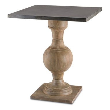 """Currey and Company - Pinkney Table - With both traditional and industrial elements, this large occasional table has a wooden turned pedestal base with a square metal wrapped top. The base has a baluster feel accented with white patina. Crafted from wood, slight variations in tone and texture are common. All surfaces are protected by natural wax coating. Wipe spills immediately with soft dry cloth. Always use coasters or mats. Never place cups, glasses or anything hot directly on the surface. This could cause discoloration. Avoid positioning your furniture near a source of direct heat. Wood is """"living"""" and changes in temperature can result in cracking. We recommend placing the piece a minimum of three feet from any heat source. For everyday care, dust with a clean dry cloth."""