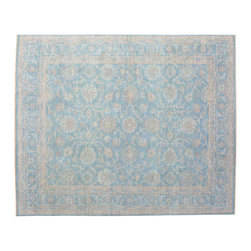 8'X10' Oriental Rug, Hand Knotted Sky Blue Washed Out Peshawar Rug SH11061 - Hand Knotted Oushak & Peshawar Rugs are highly demanded by interior designers.  They are known for their soft & subtle appearance.  They are composed of 100% hand spun wool as well as natural & vegetable dyes. The whole color concept of these rugs is earth tones.