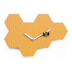 Progetti - Time2Bee 2260 Orange Wall Clock - Fun and colorful wall clock, ideal for children's rooms or for bringing a touch of fun and light heartedness to ones surroundings. Made of steel, Time2bee replicates the shape and design of hives where a yellow and black bee, hung to the minute hand, moves easily between the recesses.