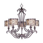 Maxim Lighting - Traditional Classic 5 Light Up Lighting ChandelierMondrian Collection - Mondrian, a Mediterranean inspired collection, features a forged-iron frame finished in Umber Bronze.