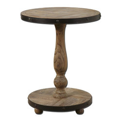 Uttermost - Uttermost Kumberlin Wooden Round Table 24268 - Solid, natural fir wood weathered and sanded smooth with aged black metal banding.