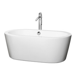Wyndham Collection - 29.25 in. Soaking Bathtub in White - Includes cable driven pop up drain and waste overflow are installed. Tub filler not included. Elegant symmetry. Soft curves. Minimalist lines. Much deeper than standard tubs for full immersion. Warmer to the touch and more comfortable than traditional enamel or steel tubs. Acrylic construction for strength and ease of handling and installation. Adjustable base for accurate leveling and stability. Maximum fill: 43.5 Gallons. Drain: 18.25 in. D. Interior: 53 in. W x 23 in. D x 17.75 in. H. Exterior: 60 in. W x 29.25 in. D x 23 in. H. Assembly InstructionsThe Mermaid Soaking Tub is an expression of modern design, practicality and just plain luxury. Built to last and always warm to the touch, the Verona Bathtubs are a perfect place to melt away tension and stress, leaving you refreshed, recharged and renewed.