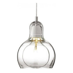 """&Tradition - Copenhagen - &Tradition - Copenhagen Mega Bulb Pendant Light - The Mega Bulb pendant light was designed by Sofie Refer for &Traditions in 2001.  This contemporary pendant light is made from a high quaility mouth-blown glass, with a polished edge.  The electrical componets are made from stainless steel with a porcelian lamp holder.  Available with clear glass or silver glass.   Product description: The Mega Bulb pendant light was designed by Sofie Refer for &Traditions in 2001.  This contemporary lighting fixture is made from a high quality mouth-blown glass, with a polished edge.  The electrical components are made from stainless steel with a porcelain lamp holder. It is also available with clear glass or silver glass. The Mega Bulb pendant light cord length is 72"""". Details:                         Manufacturer:                        &Traditions                                                 Designer:                        Sofie Refer                                         Made in:                        Denmark                                         Dimensions:                        Width: 7""""(18 cm) X Height: 9"""" (23 cm) X Cable is 72"""" (182 cm)                                         Light bulb::                        1 X 60 W Max E26 incandescent                                         Material:                                                                                    Glass, stainless, porcelian                                                                        The manufacturer of this product, & Tradition, is a Danish manufacturer and known for their very unique and distinct quality. These contemporary lighting illuminations can add radiant ambiance to any home, office, restaurant, hotel, resorts, library, and more.  This pendant light is created in Denmark and has a sheek appearance. The manufacturer is also well known for using high quality as well as environmentally friendly products to create their innovative structures and des"""