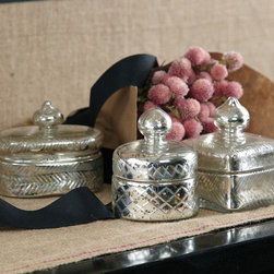 Set of 3 Vintage Trinket Boxes with Antiqued Pure Silver Finish - The heirloom impressions of exquisite cut glass take on a romantic patina and hue with a pure silver coating that has been antiqued to create the Pentimento Vintage Trinket Boxes' characteristic dappled look of age.  Two round boxes and one square one, each with a well-fitted lid and an integrated round or onion-shaped knob, disguise contents behind beautiful vintage silvering.